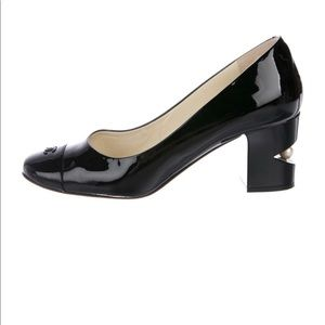 CHANEL Shoes - CHANEL Patent Leather Square Toe Pearl Pumps